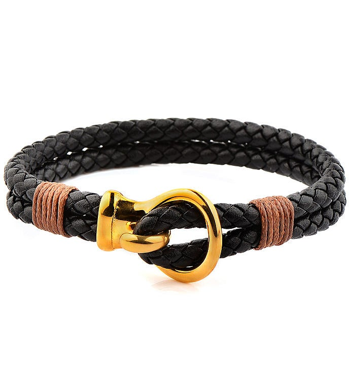 Polished Stainless Steel Hook Clasp Leather Bracelet