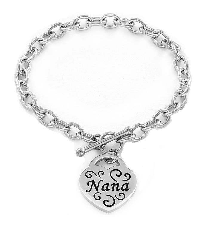 nana Engraved Stainless Steel Heart Charm Bracelet