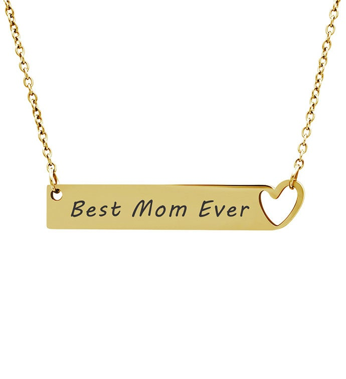 Anavia - Best Mom Ever Heart Cut-out Bar Necklace