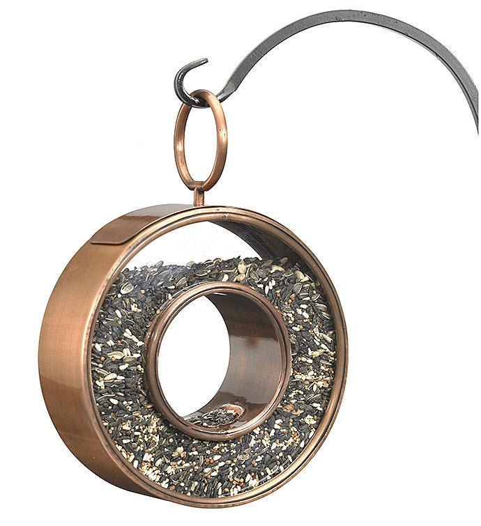 Circle Fly-thru Bird Feeder - Copper Finish