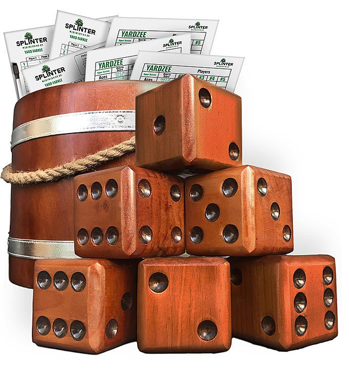 Yardzee  Farkle Giant Dice With Wooden Bucket