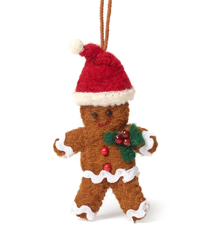 Handmade Felt Gingerbread Christmas Ornament