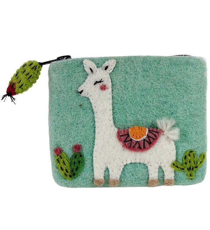 Handmade Felt Happy Llama Coin Purse
