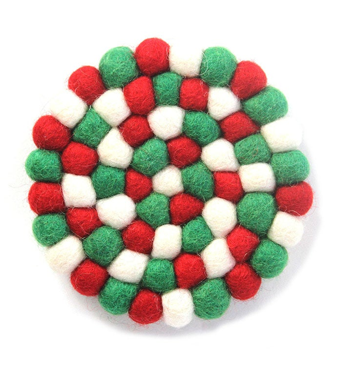 Handmade Felt Jolly Holiday Trivet  Hot Pad