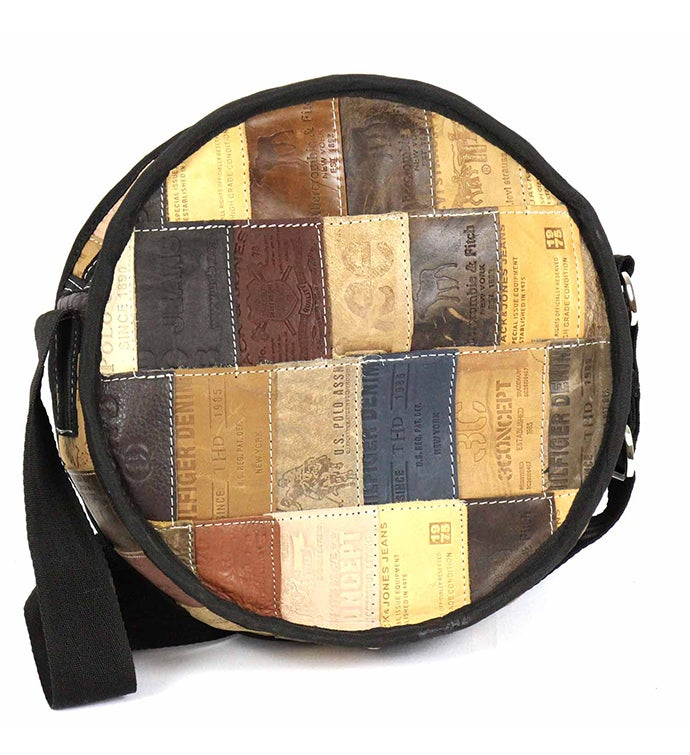 Recycled Leather Patch Round Shoulder Bag
