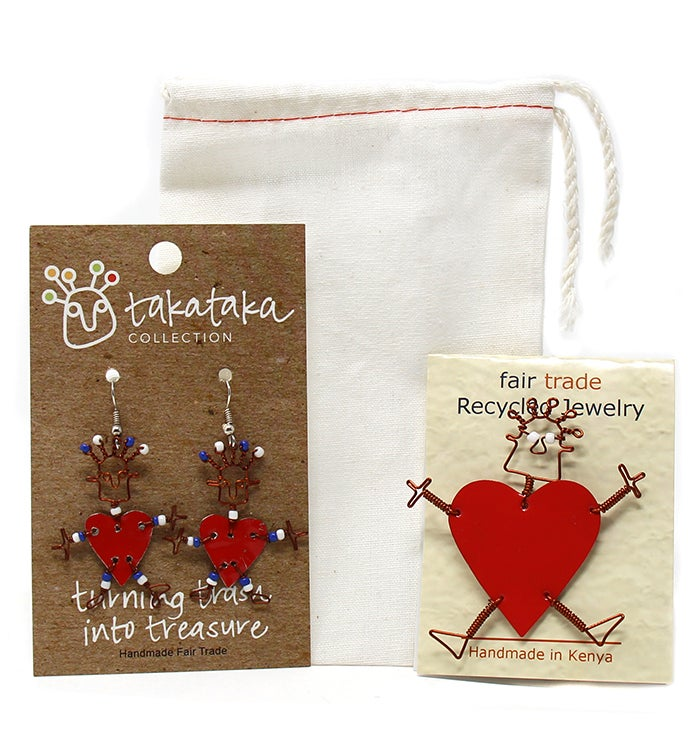 Recycled Tin Dancing Red Heart Pin  Earring Set Kenya