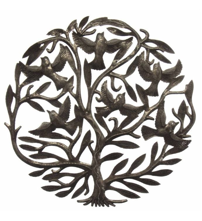 Handmade Tree Of Life Recycled Steel Wall Art