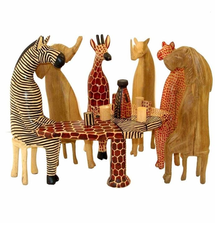 Hand-carved Mahogany Party Animal Set