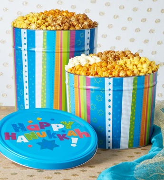 Happy Hanukkah Popcorn Tins