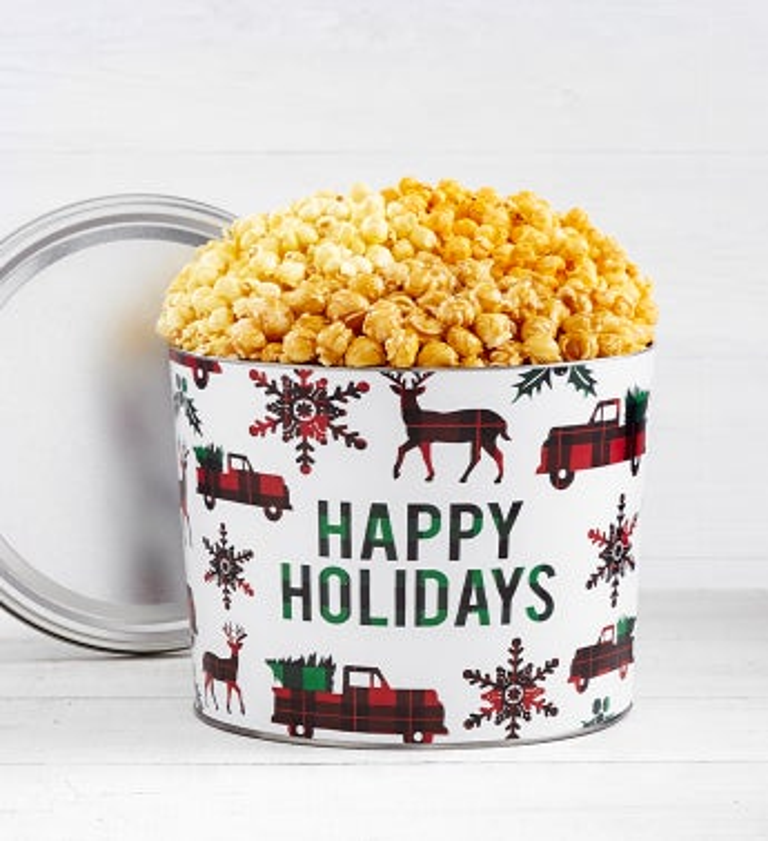 Very Merry Plaid Happy Holidays Popcorn Tins