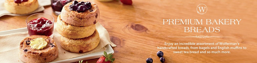 WOLFERMAN'S BAKERY BREADS Warm up the holidays with an array of handcrafted breads, from New York bagels and toasty English muffins to sweet tea breads, and more. SHOP ALL