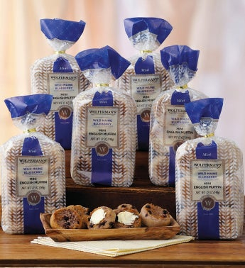 Wild Maine Blueberry Mini-English Muffins - Six Packages