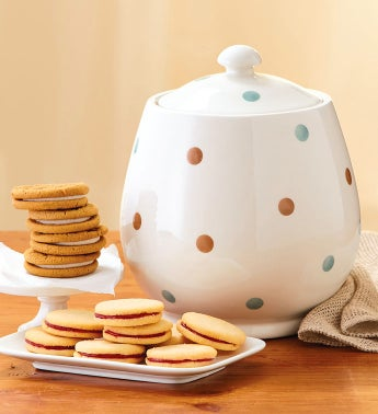 Polka Dot Cookie Jar with Cookies