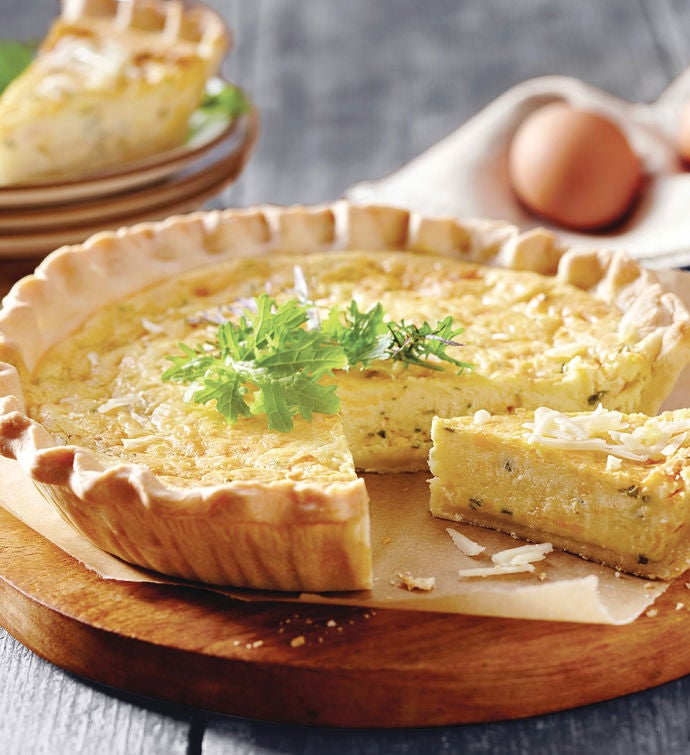 Triple Cheese and Caramelized Onion Quiche