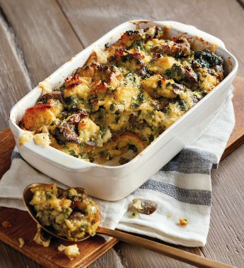 Spinach, Mushroom, and Bacon Strata