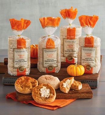 Pumpkin Spice Super-Thick English Muffins - 4 Packages