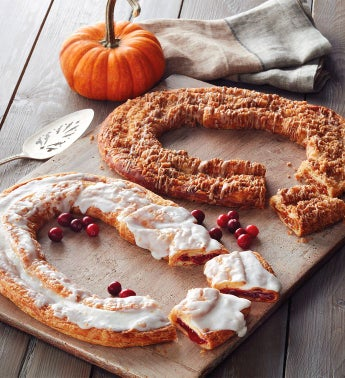 Pumpkin Crème and Cranberry Kringle Wreaths
