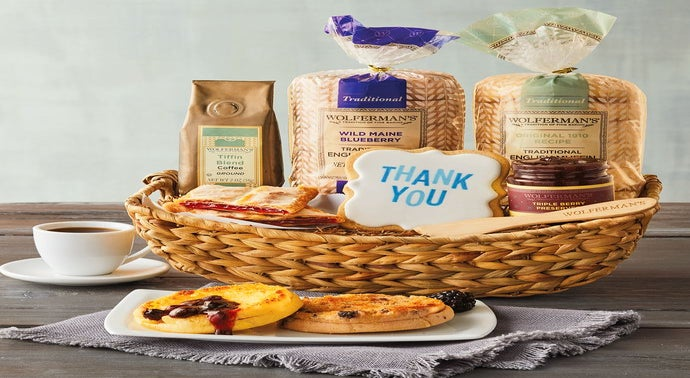 Delicious English muffins are the beginning of a great breakfast, and the English Muffin Sampler Basket offers the best and more. This delightful gourmet gift, presented in a natural wood basket, features Harry & David's famous English muffins, tangy fruit preserves, robust premium coffee, and more.