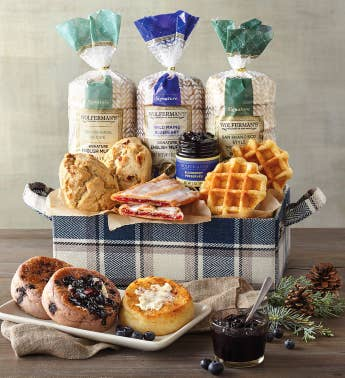 Blue Plaid Gift Basket