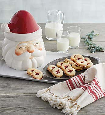 Santa Cookie Jar with Cookies