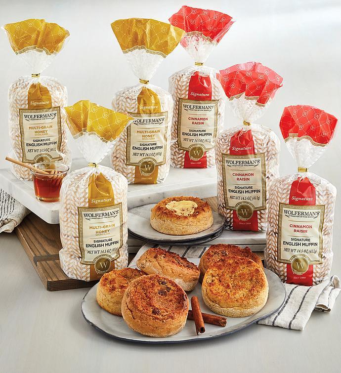 Cinnamon Raisin and Honey Wheat Signature English Muffins 6-Pack