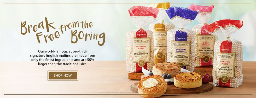 BREAK FREE FROM THE BORING. Our world famous english muffins are made from only the finest ingredients and are 50% larger than the traditional size. SHOP NOW